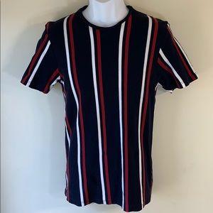 Topman Men's Stripe Short Sleeve T Shirt.